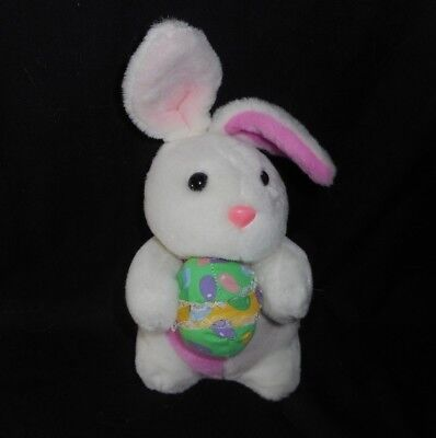 """10"""" VINTAGE SOFT THINGS EASTER WHITE BUNNY RABBIT W EGG STUFFED ANIMAL PLUSH TOY for sale  Shipping to Canada"""