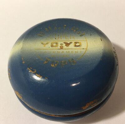 Vintage Duncan Super Tournament Yo-Yo Blue White Stripe