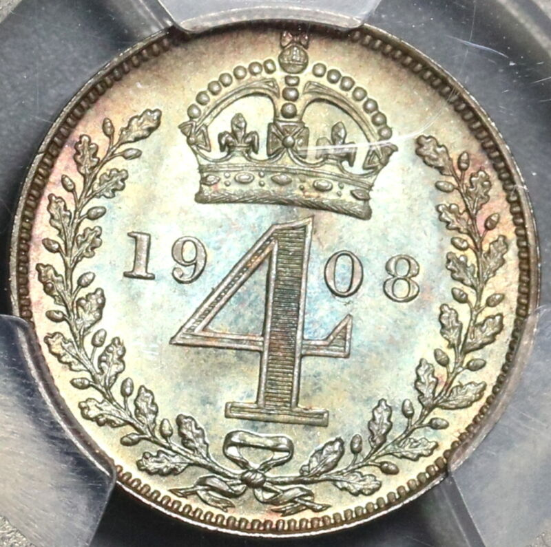 1908 PCGS PL 66 Edward VII 4 Pence Maundy Proof Like Britain Coin (20021902C)