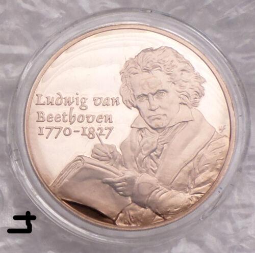 German Music Composer Ludwig Van Beethoven Piano on Vintage Bronze Proof Medal