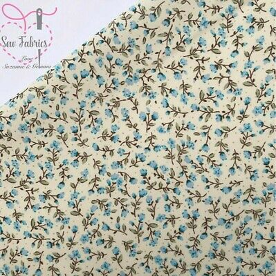 Rose and Hubble Pale Blue Ditsy Floral Fabric 100% Cotton Poplin Flower