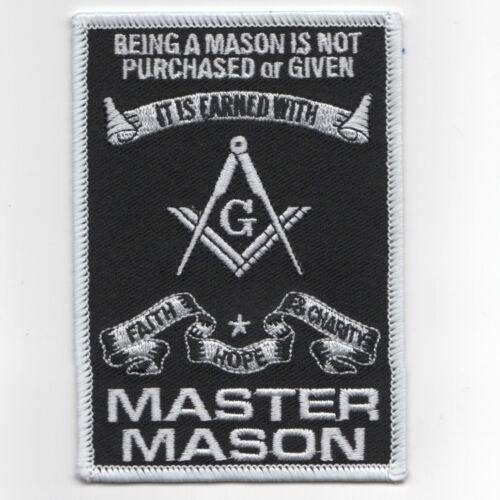 """MASONIC MASTER MASON 4"""" BEING A MASON IS NOT PURCHASED OR GIVEN PATCH"""