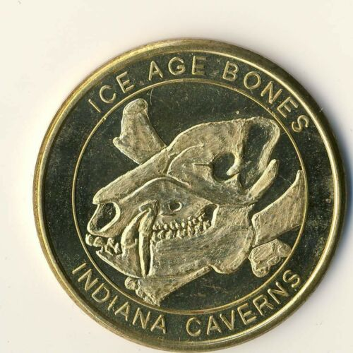 Indiana IN Caverns Binkley Cave Corydon ICE AGE BONES Souvenir Doubloon Coin