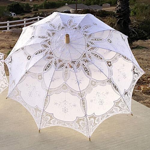 """30""""  Vintage Wedding Lace Linen Parasol Umbrella Bridal Shower Party Decoration"""