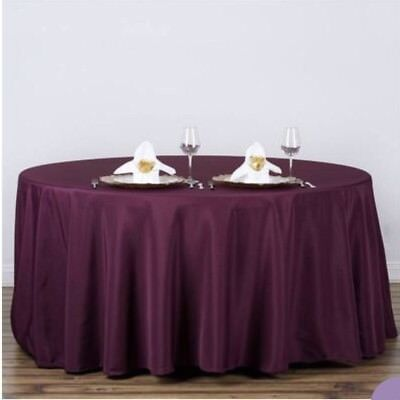 "EGGPLANT PURPLE 120"" ROUND POLYESTER TABLECLOTHS Wedding Party Decorations"
