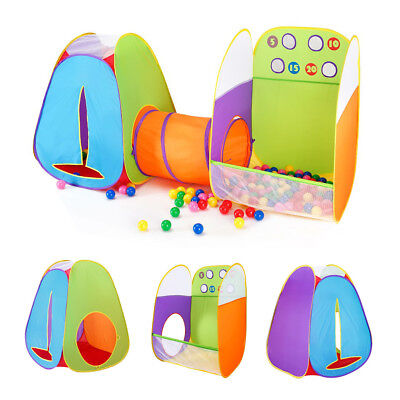 Super Fun Pop-Up Play Tent w Tunnel Ball Pit Game Zone for Kids Boys Girls Baby