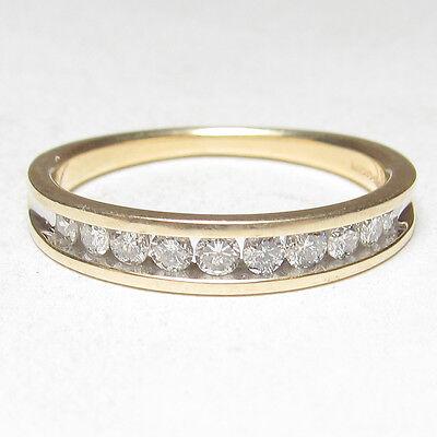 Estate 14K Yellow Gold Ten Round Brilliant Cut Diamond Band Style Ring 0.20 Cts