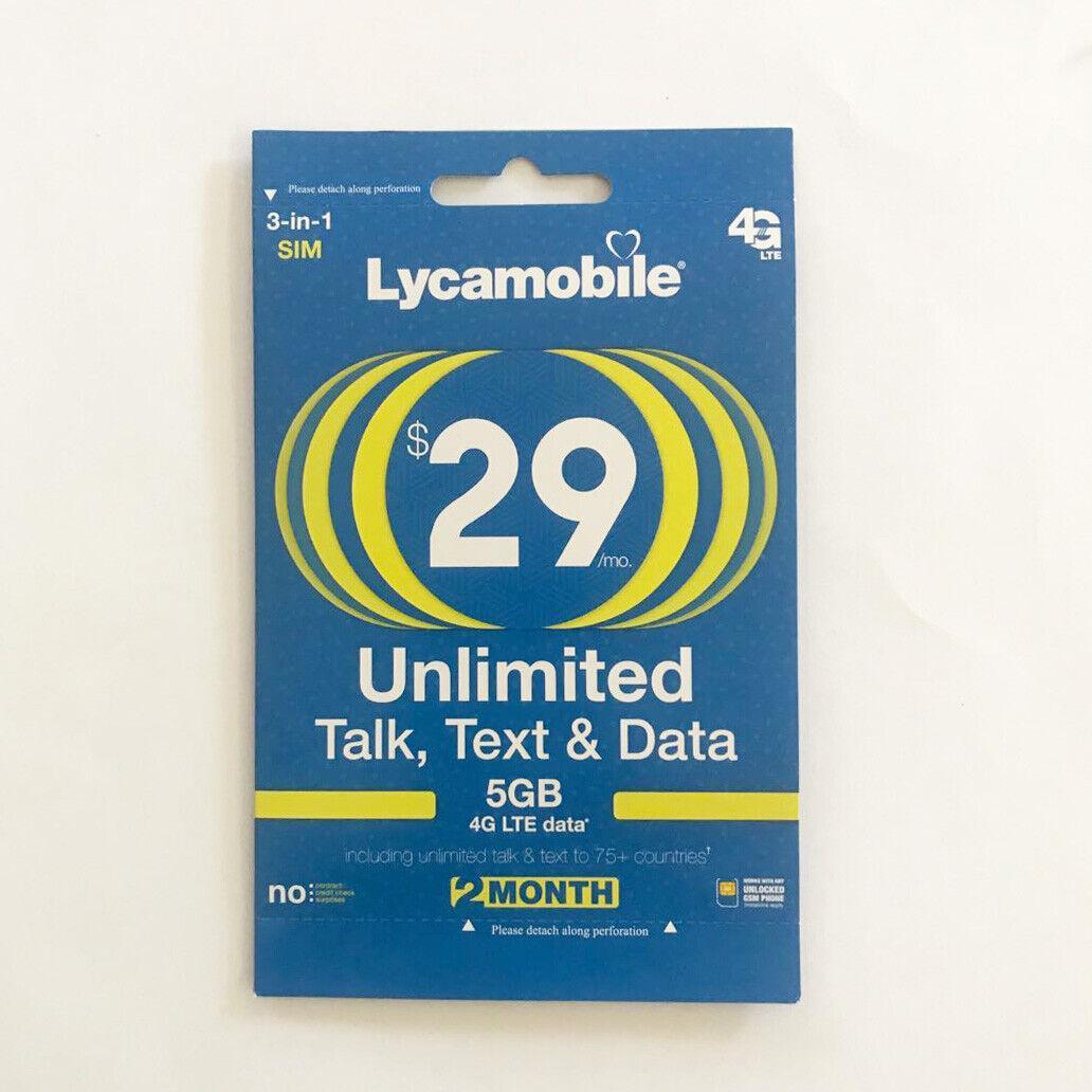 LYCAMOBILE Preloaded Sim Card Prepaid $23/$29/$35/$39 1/2/3