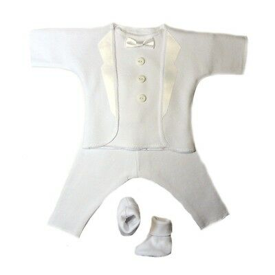 Baby Boy White Tuxedo Suit - 5 Preemie Newborn Sizes Perfect for - White Suits For Boy