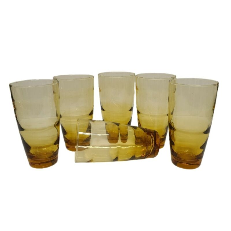 Lot of 6 Vintage Libby Amber Beverage Drinking Glasses Tumblers