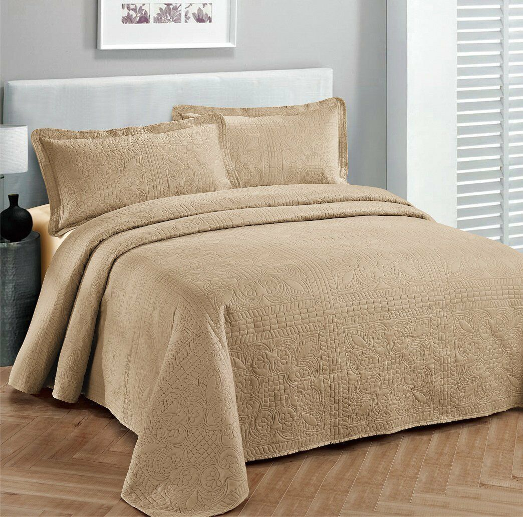 Fancy Linen Oversize Luxury Embossed Bedspread Solid Taupe A