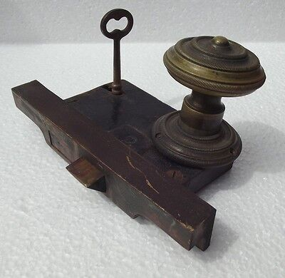Antique Vintage BRASS Door Knob Mortise Lock skeleton key RUSSWIN