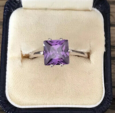 Art Deco Style 925 Silver And Purple CZ Ring