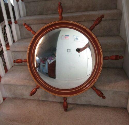 Antique Vintage 1935 Nurre Nautical Ship's Wheel Curved Mirror ~ 30.5 DIA