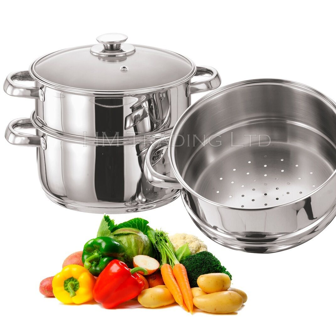 Kitchen Living Food Steamer: STAINLESS STEEL 3TIER INDUCTION FOOD VEGETABLE STEAMER
