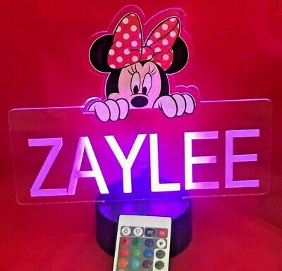 Minnie Mouse Disney Light Up Night Light Table Lamp LED Pers