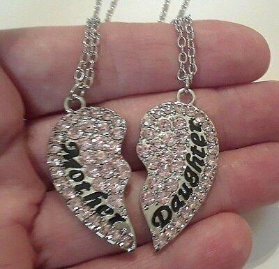 Mother & Daughter necklace set. Silver Pink stones 2 piece heart puzzle pendants (Puzzle Piece Necklace Set)