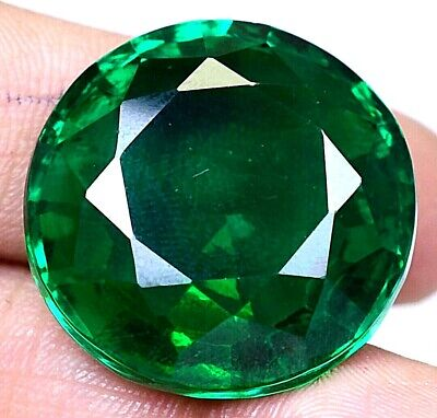AAA Colombian 59.90Ct Natural Green Emerald Round Loose Gemstone Certified F3906