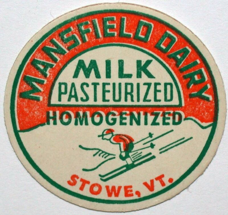Vintage milk bottle cap MANSFIELD DAIRY Homogenized skier pictured Stowe Vermont