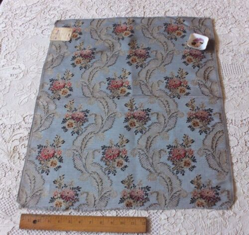"French Antique 19thc  Blue Lyon Silk Brocade Fabric c1870~25""X21"""
