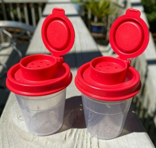 2021 Tupperware Clear W/ Red Top 2 oz Mini Midget Salt Pepper Shakers BRAND NEW