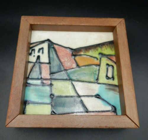 Vintage 1950s Harris G Strong Mid-century Modern Ceramic Tile #86 Framed