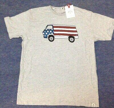Iron and Resin Flag/Camper Van  T-Shirt - Grey Large
