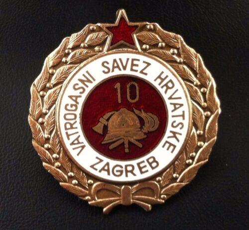 Rare medal Croatia badge 10 year serviceFirefighting - medal Yugoslavia SFRJ !
