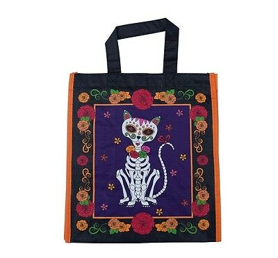 Cats Dogs Sugar Skull Designs Day Of The Dead Reusable New Grocery Bag