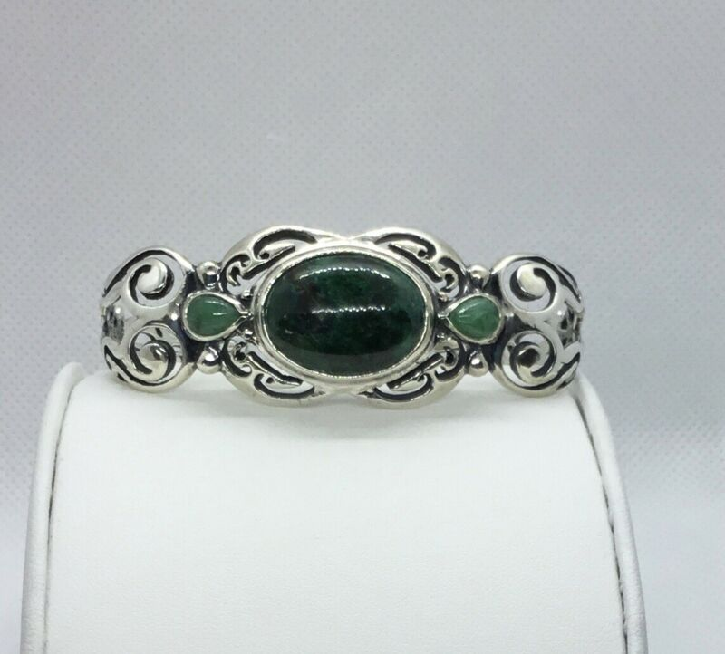Authentic Carolyn Pollack Sterling Silver Chrysocolla Cuff Bracelet, Large, EUC