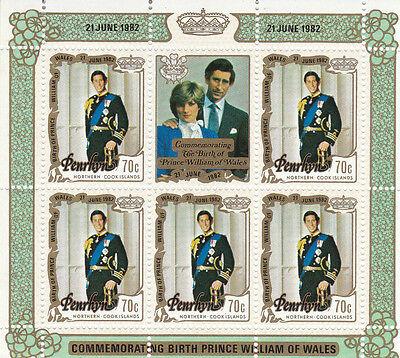PENRHYN 1981 ROYAL WEDDING 70c SOUVENIR SHEET OP BIRTH OF PRINCE WILLIAM MNH