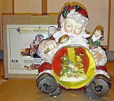 Musical Animated Waterglobe~Sitting Santa~Grandeur Noel~2003~Music and Snow~Box