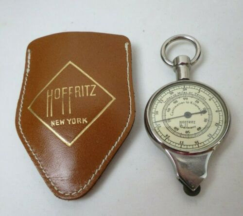 Vintage Hoffritz Map Plan or Curve Measure Two Sided Opisometer Leather Case