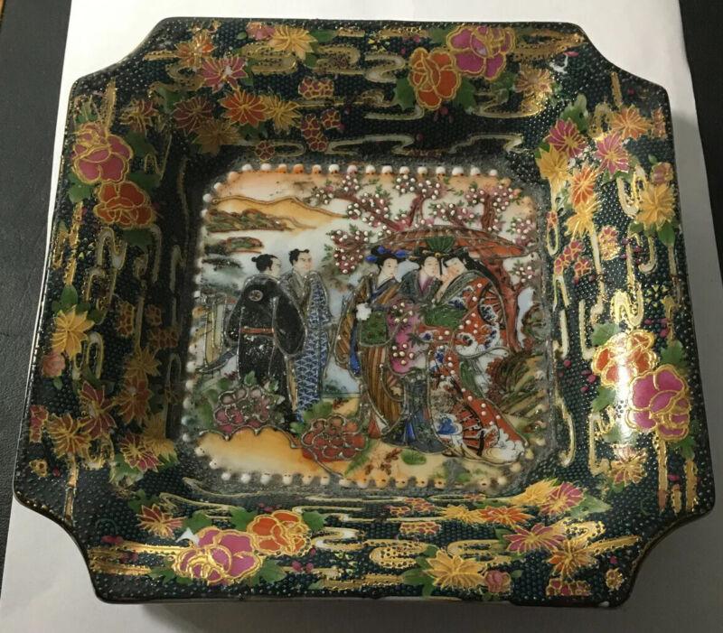 Hand painted Royal SATSUMA Tray Dish Geisha