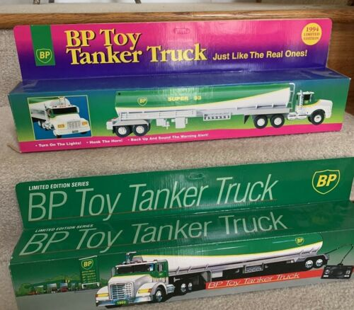 2 Vintage BP Remote Toy Tanker Trucks In Original Boxes With Insert 1992 & 1994