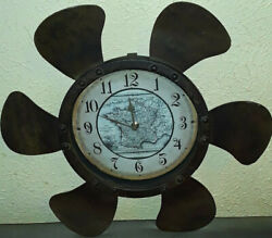 Vintage Old World Style Fan Propeller Ship Cottage Rustic Boat Decor Wall Clock