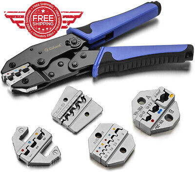 Crimping Tool Ratcheting Wire Crimper For Heat Shrink Connectors With 4 Pcs
