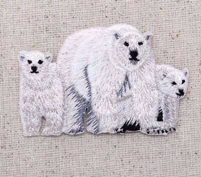 Polar Bear Patch - Polar Bear Family/Mom/Two Cubs White/Arctic Iron on Applique/Embroidered Patch