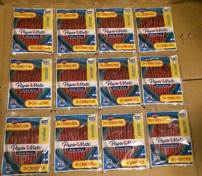 Paper Mate Lot Of 144 Red Ballpoint Pens New Write Bros. 1.0mm Medium Point Nip