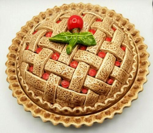 """Cherry Pie Plate Covered Pie Safe Covered Cherry 10"""" Pie Server High Glaze"""