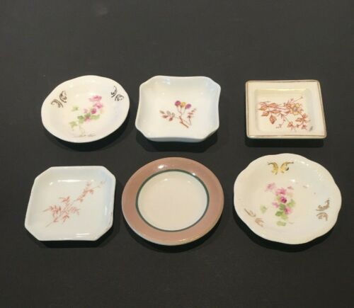 6 Butter Pat Dish Lot Assorted patterns