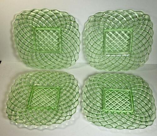 Vintage Set Of 4  LE Smith Glass Trellis Lime Green Plates