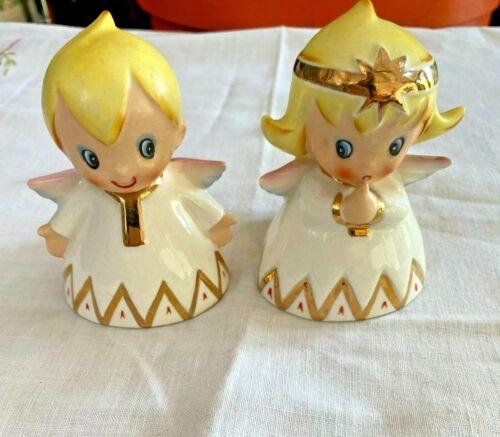 Rare Lefton Christmas Angel Girl & Boy Candle Holder Vintage MCM 2559