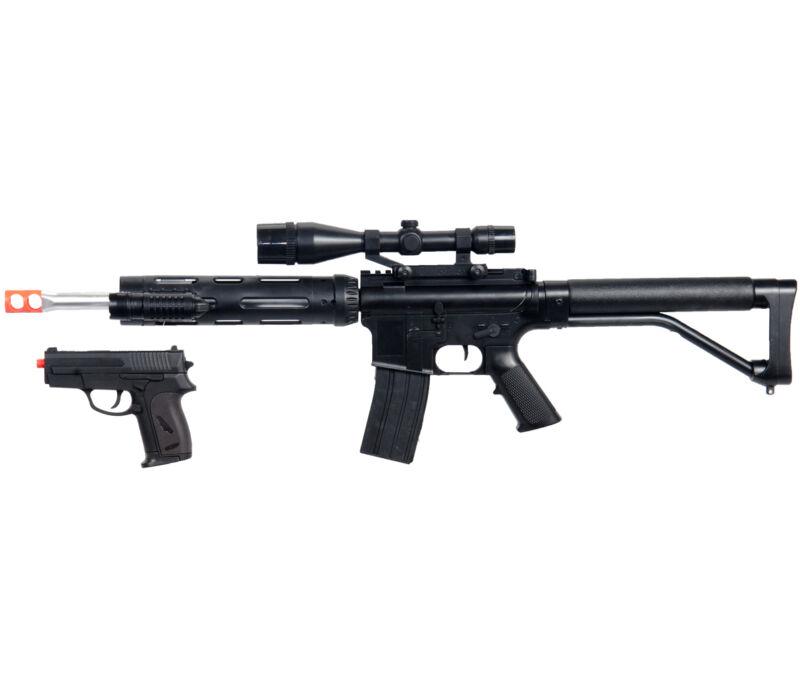 AIRSOFT RIFLE & PISTOL COMBO M4 A1 M16 TACTICAL SPRING GUN w/ LASER SCOPE BB BBs