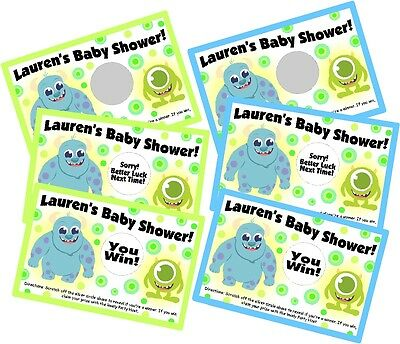 BABY MONSTERS INC PERSONLIZED SCRATCH OFF OFFS PARTY CARDS BABY SHOWER FAVORS (Monster Baby Shower)