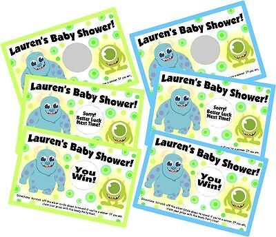 RSONLIZED SCRATCH OFF OFFS PARTY CARDS BABY SHOWER FAVORS (Baby-monsters Inc)