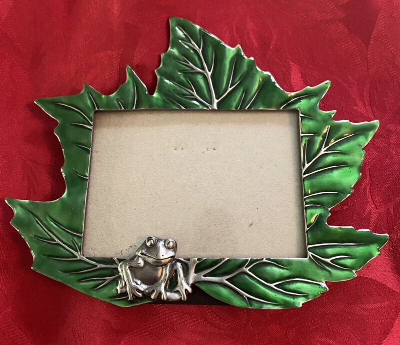 Frog on Leaf Metal Green  Enamel Easel Style Photo Picture Frame Heavy
