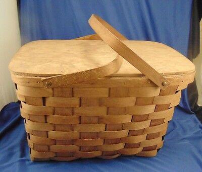 Vintage Putney Vermont Basketville Picnic basket woven wood Camping Hiking Eat - Picnic Baskets Wholesale