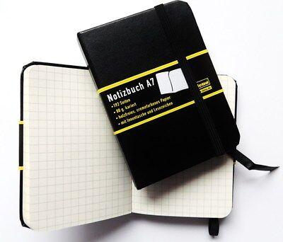 Idena Notizbuch DIN A7 schwarz kariert  Tagebuch Notizbuch Profinotizbuch