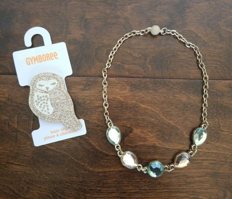 Gymboree Girl All Spruced Up Necklace Owl Hair Clip set VGUC NWT HTF Fall Winter